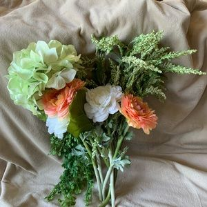 Seven Piece Coral, White and Green Faux Flowers